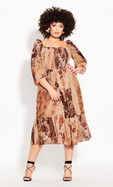 Plus Size Paisley Puzzle Dress - ochre