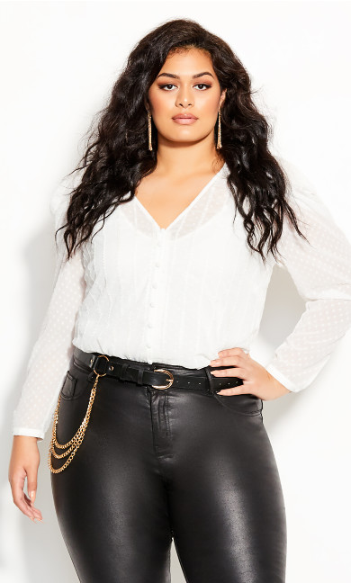 Plus Size Sweet Dobby Top - ivory