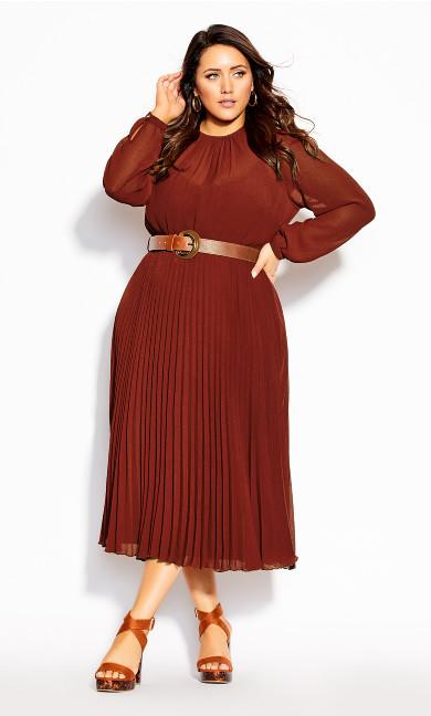 Plus Size Love Pleat Dress - henna