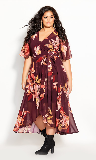 Plus Size Desert Orchid Maxi Dress - plum