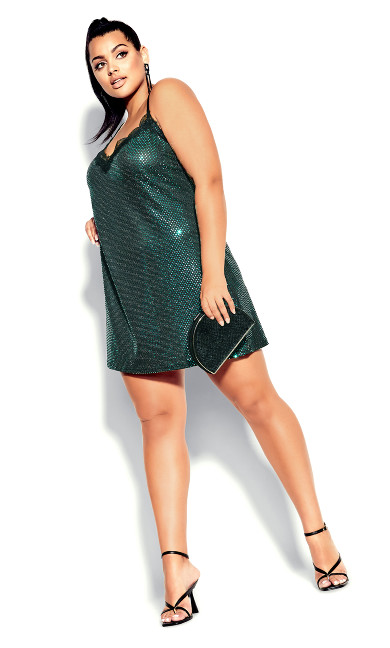 Plus Size Disco Fever Dress - emerald