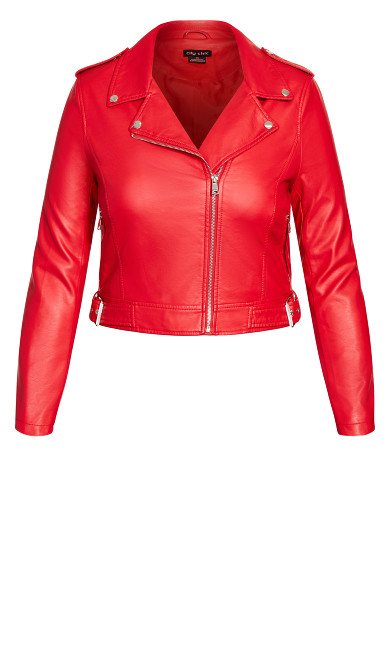 Lust Biker Jacket - crimson