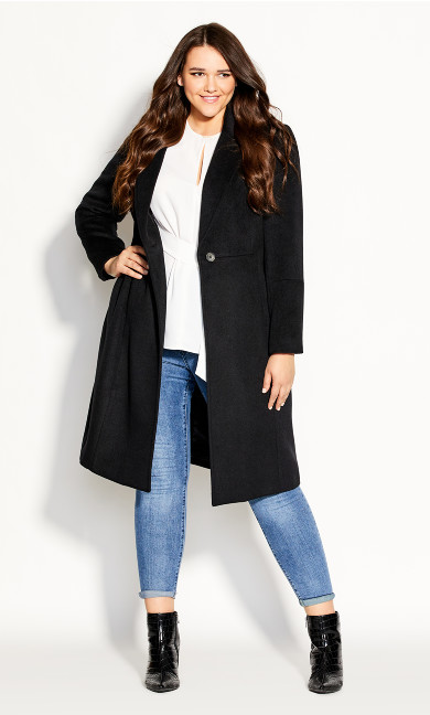 Plus Size Belissima Wool Blend Coat - black