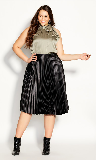 Plus Size Satin Pleat Skirt - black