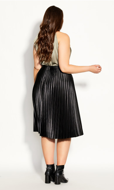 Satin Pleat Skirt - black