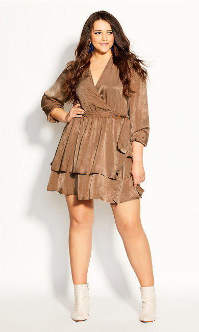 Plus Size Twisted Ruffle Dress - bronze
