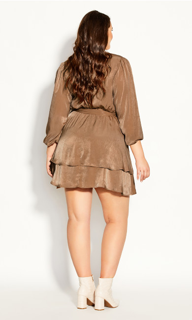 Twisted Ruffle Dress - bronze