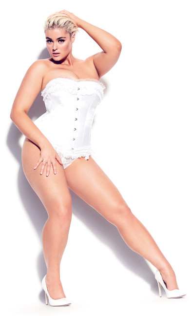 Plus Size Milly Bow Satin Corset - ivory