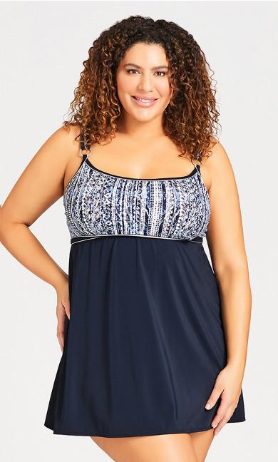 Plus Size Filagree Swim Dress - black