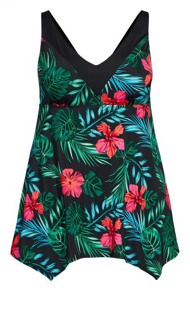 Hawaiian Swim Dress - black floral