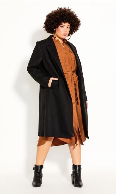 Plus Size Effortless Chic Coat - black