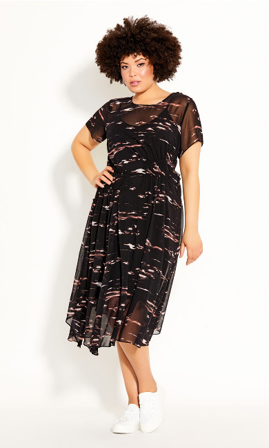 Plus Size Moody Sky Dress - black