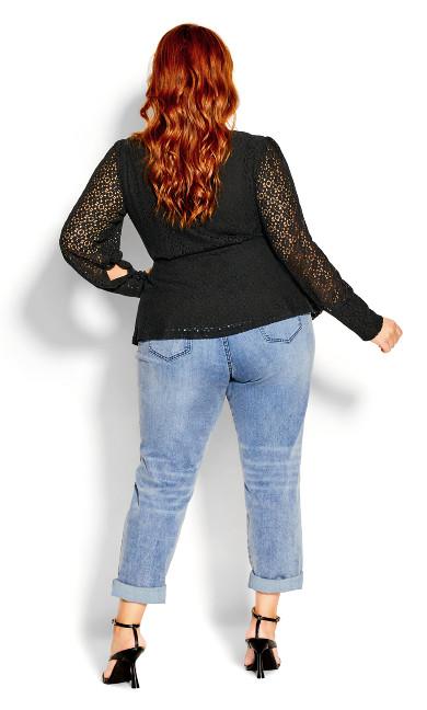 Lace Struck Top - black