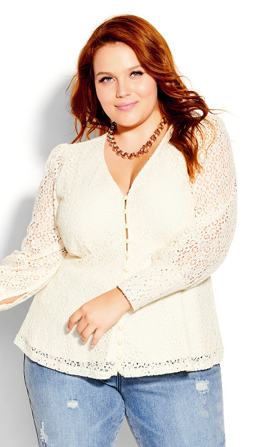 Lace Struck Top - cream