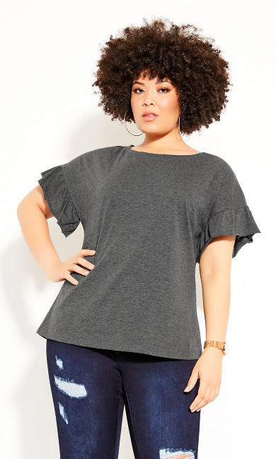 Cutie Sleeve Top - charcoal