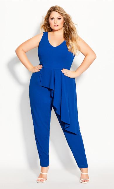 Plus Size Chic Ruffle Jumpsuit - lapis