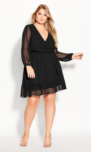 Plus Size Dobby Ruffles Dress - black