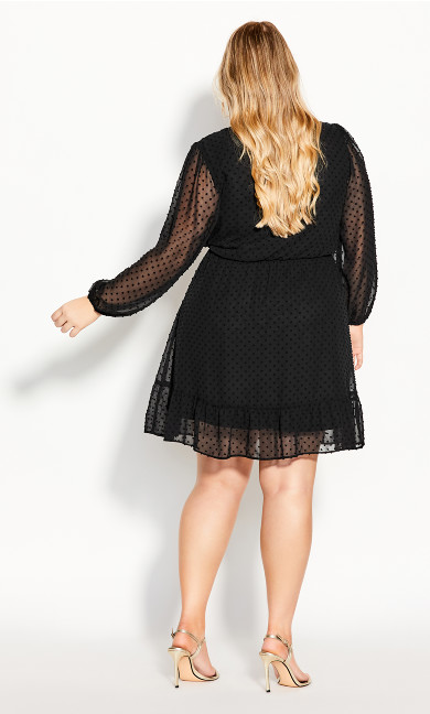 Dobby Ruffles Dress - black