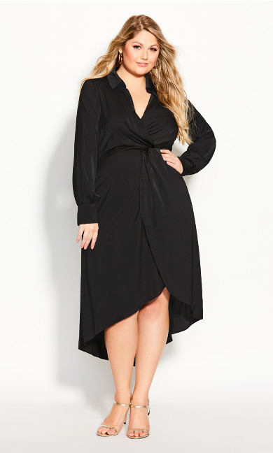 Plus Size Sexy Sleek Dress - black
