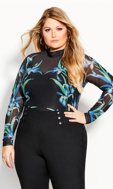 Plus Size Winter Iris Bodysuit - black