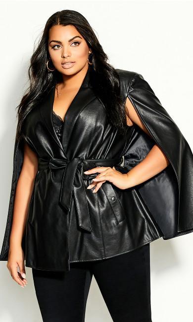 Plus Size Luxe Cape Jacket - black