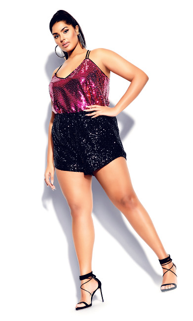 Plus Size Glimmer Short - black