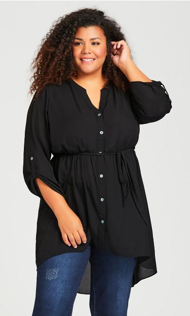 Plus Size Tie Waist Blouse - black