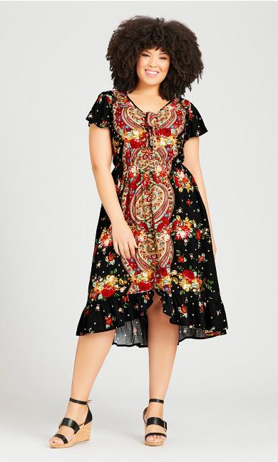 Plus Size Boho Dress - black