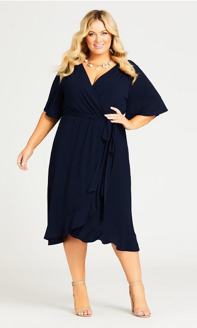 Plus Size Faux Wrap Dress - navy