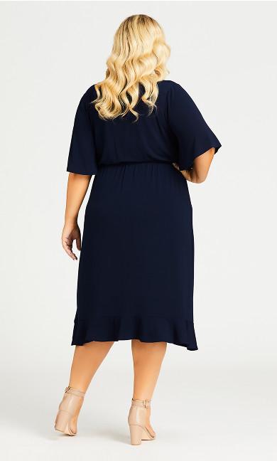 Faux Wrap Dress - navy