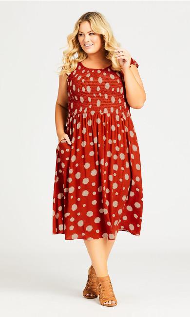 Plus Size Rylie Print Dress - spice
