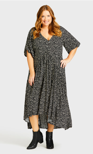 Val Print Dress - black spot
