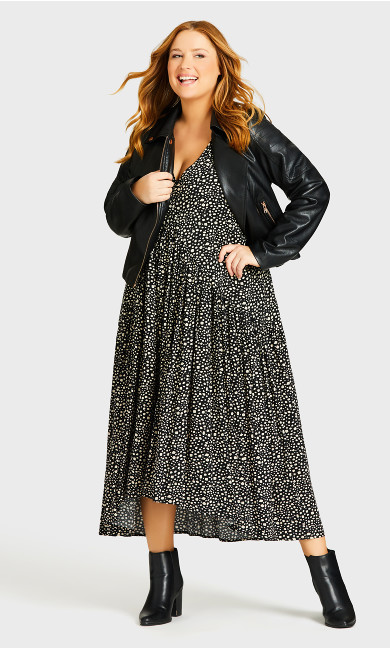 Plus Size Val Print Dress - black spot