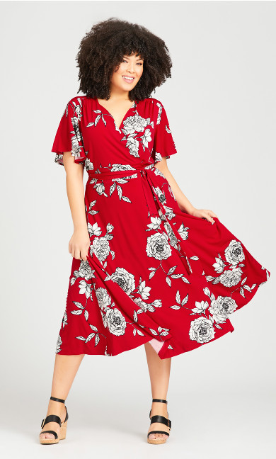 Plus Size Print Wrap Short Sleeve Dress - red