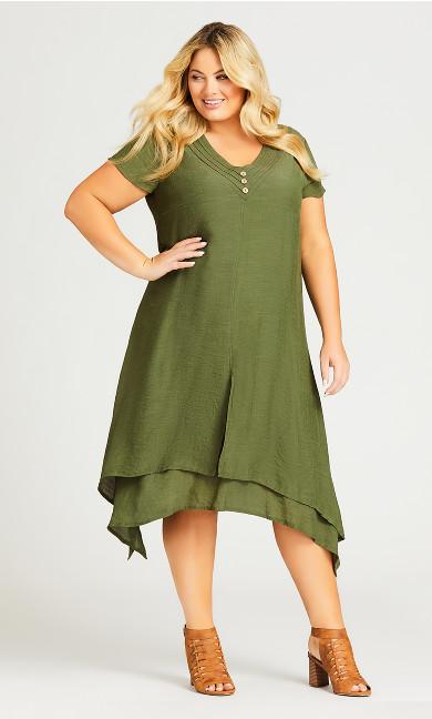 Plus Size V Sharkbite Dress - khaki