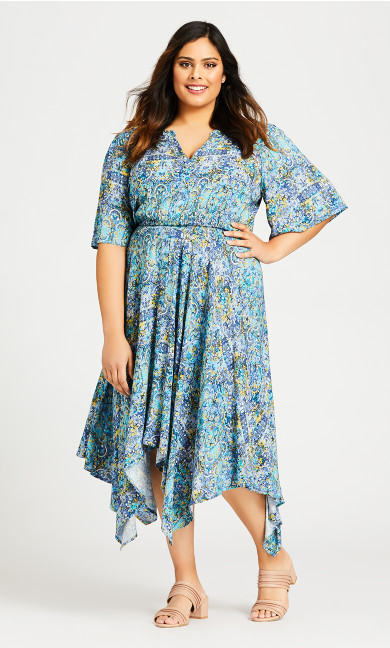 Plus Size Hanky Hem Maxi Dress - blue