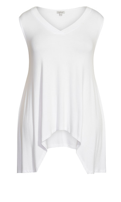 V Neck Swing Tank - white