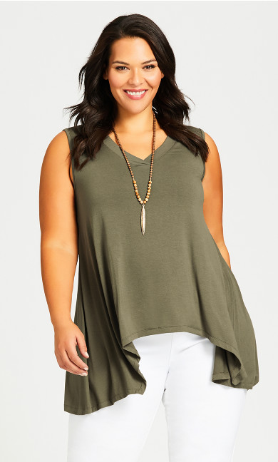 Plus Size V Neck Swing Tank - olive