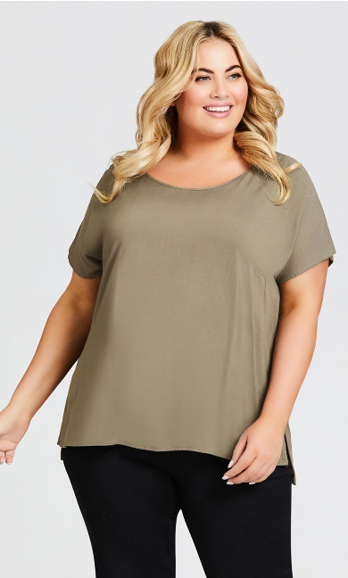 Plus Size Mixed Media Top - khaki