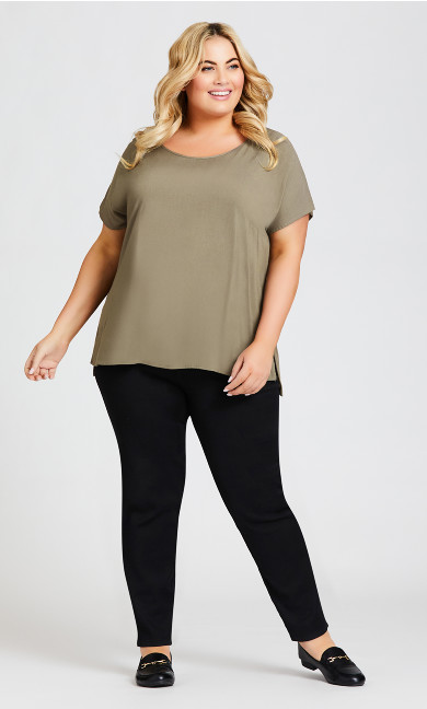 Mixed Media Top - khaki