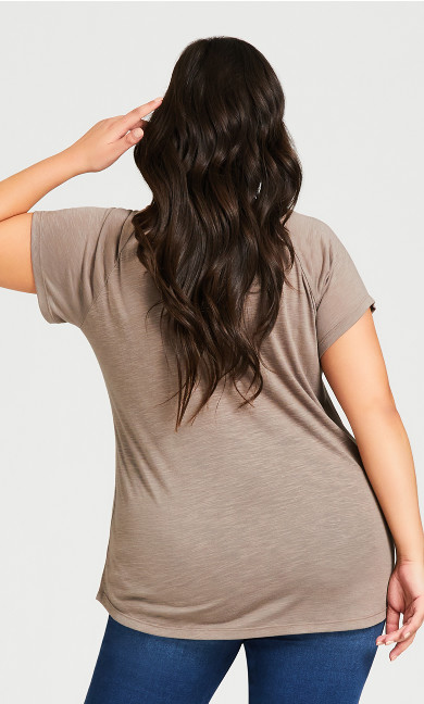 3 Bar V Neck Top - khaki
