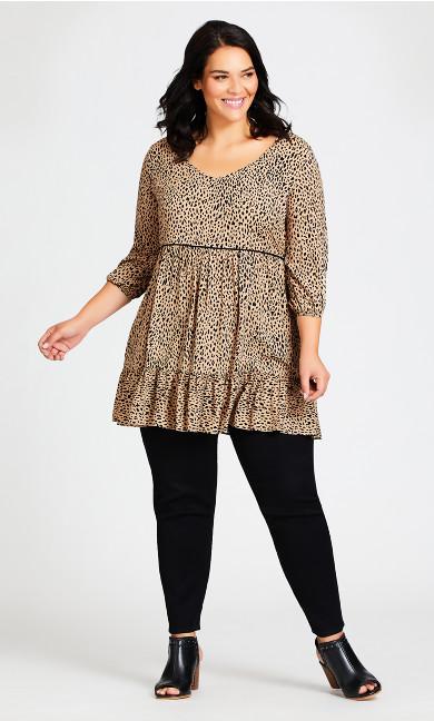 Plus Size Leopard Stance Tunic - sand