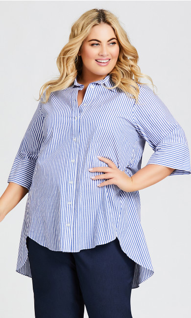 Plus Size Shirt Tunic - blue