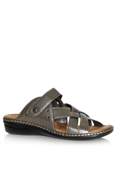 Plus Size Hayley Slide Sandal - pewter