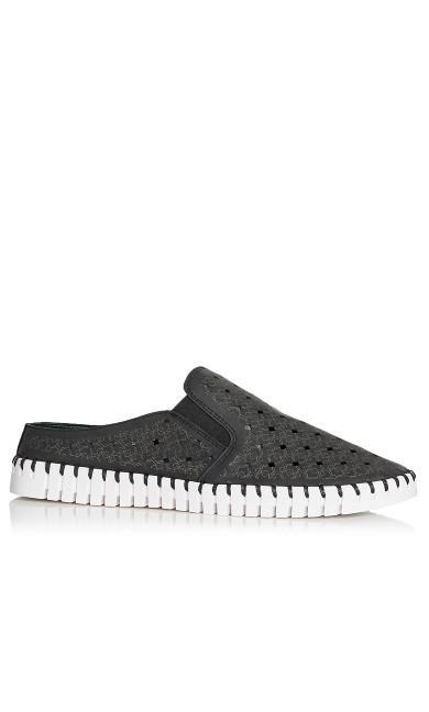 Plus Size Mel Perforated Slip On - black