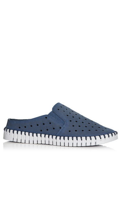 Plus Size Mel Perforated Slip On - navy