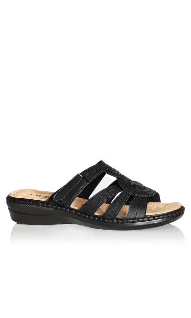 Plus Size Marin Stitch Slide - black