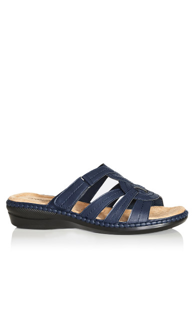 Plus Size Marin Stitch Slide - navy