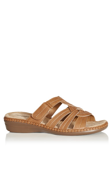 Plus Size Marin Stitch Slide - tan