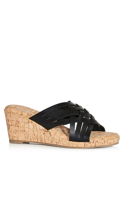 Plus Size Heather Flat Sandal - black
